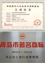 青岛市著名商标、中小型科技立项证书